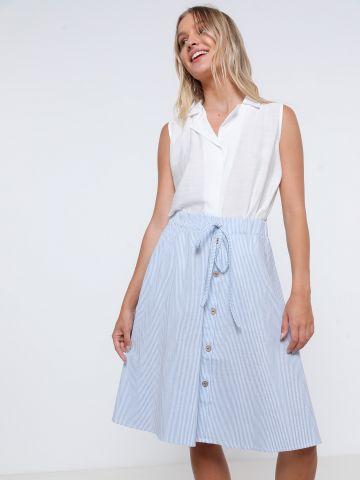 חצאית מידי בהדפס פסים של YANGA