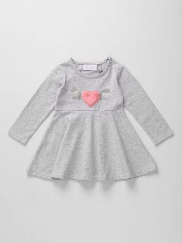שמלה מתרחבת בדוגמת לב פרוותי עם כנפיים מנצנצים / 6M-5Y של THE CHILDREN'S PLACE