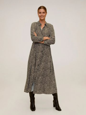 שמלת מקסי מכופתרת בהדפס חברבורות של MANGO