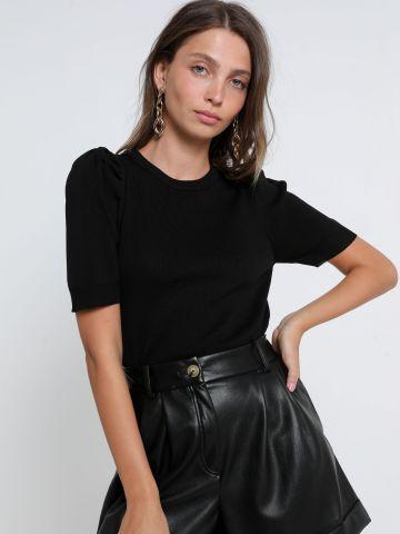 חולצת סריג עם כתפיים נפוחות של TERMINAL X