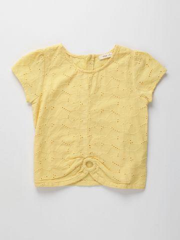 חולצת עם רקמה בשילוב חירורים / בנות של FOX
