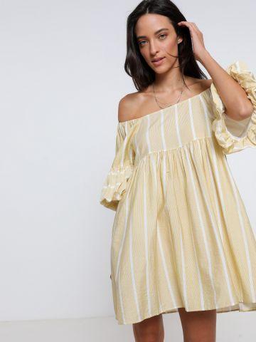 שמלת מיני אוף שולדרס פסים של YANGA