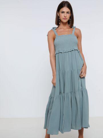 שמלת מקסי עם כתפיות קשירה של YANGA