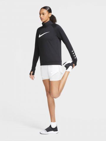חולצת ריצה עם שרוולים ארוכים ורוכסן Swoosh של NIKE