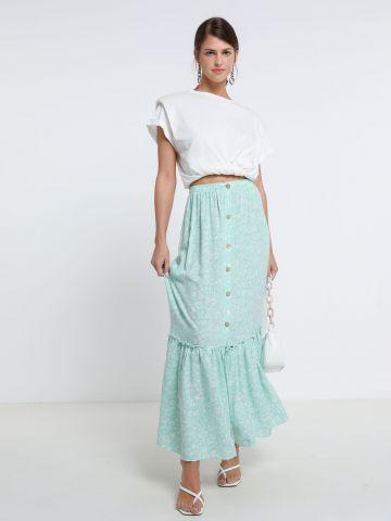 חצאית מקסי פפלום עם כפתורים של YANGA