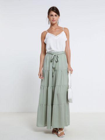 חצאית מקסי קומות עם קשירה של YANGA