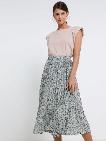 חצאית פליסה בהדפס פרחים של YANGA
