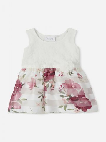 שמלה בשילוב הדפס פרחים / 6M-5Y של THE CHILDREN'S PLACE