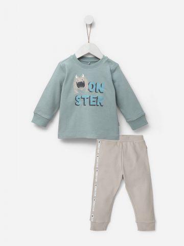 סט סווטשירט ומכנסיים עם הדפס Monster / בנים של SHILAV